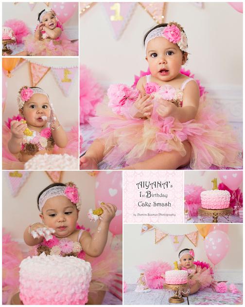 Aiyana Cake Smash Collage 16x20
