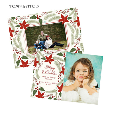 5. Template 5. Holiday Card White with Red Holly Wreat