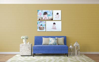 Cottage-Chic couch Balkan mavi-sari jigsaw 4lu