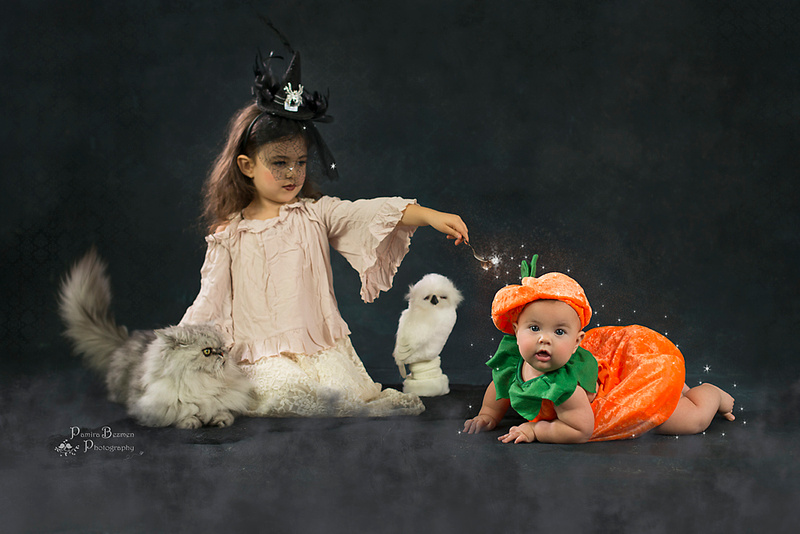 Boo my daughter turned her sister into a pumpkin!!!